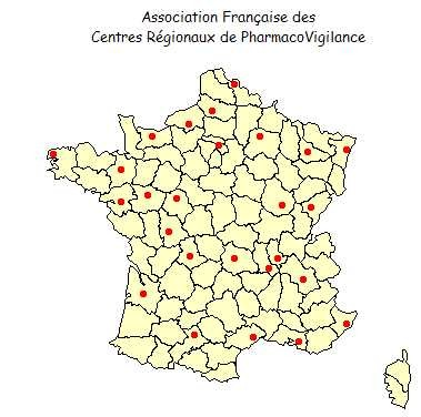 Carte centres régionaux de pharmaco-vigilance AFCRPV