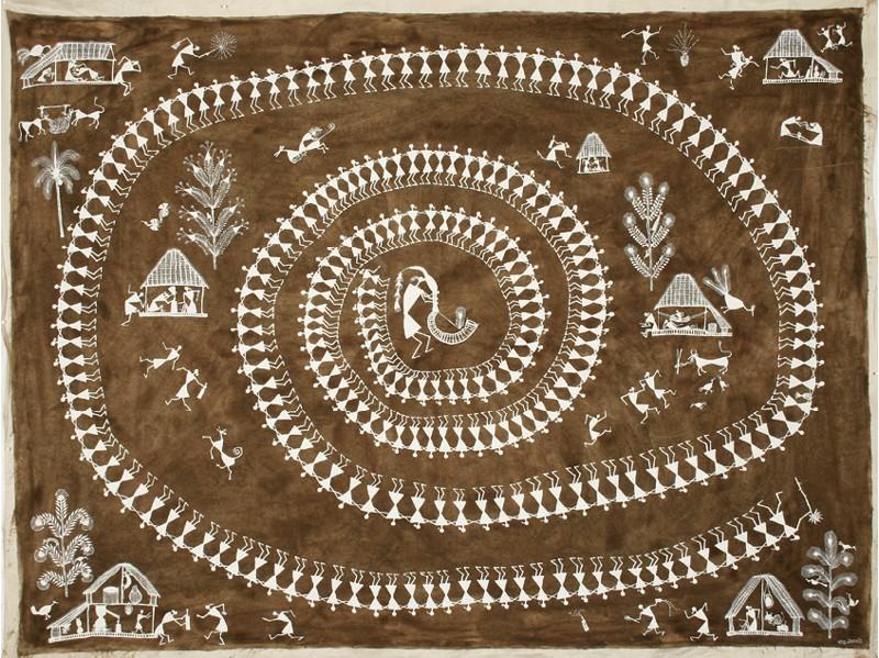 Balu Mashe (Inde) - Tarpana, acrylique et cow dung sur toile, 2004