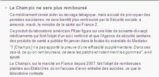 Champix Le Monde Bertrand varenicline tabac fumer