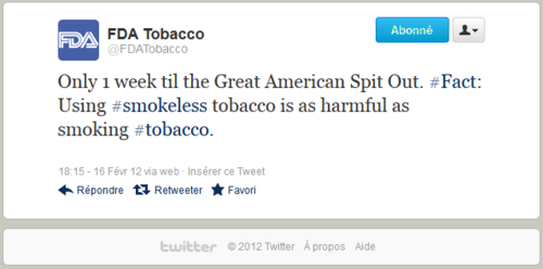 FDATobacco twitter.com 2012-2-16 smokeless tobacco as dangerous as smoking