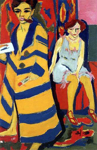 Ernst Ludwig Kirchner - Autoportrait avec modèle (1907, Hamburger Kunsthalle)