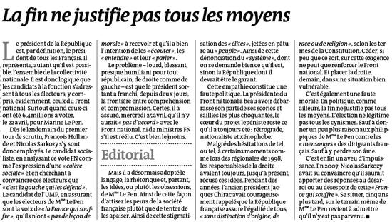 Le Monde 250421012 Editorial La fin ne justifie pas tous les moyens (Sarkozy et le FN)
