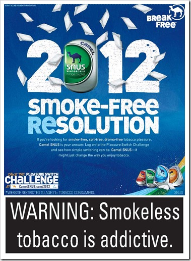Camel SNUS Smoke-Free Resolution 2012