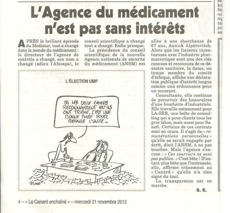L'Agence du medicament ANSM n'est pas sans interets Alperovitch Canard Enchaine 21112012