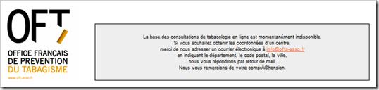 La base des consultations de tabacologie OFT est indisponible