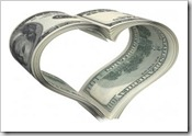 Money Heart argent au coeur